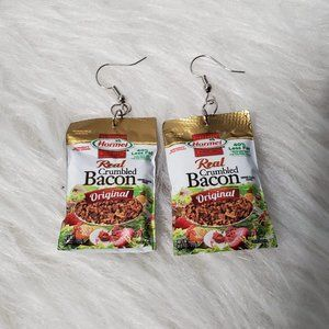 Hand Crafted Mini Brand Earrings - Bacon Bits